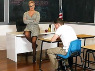 stockings straight teacher